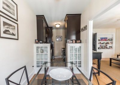 Dining area and galley kitchen at 2130 Locust apartments in Rittenhouse Square